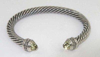 11A: David Yurman Silver Lemon Citrine Diamond Bangle