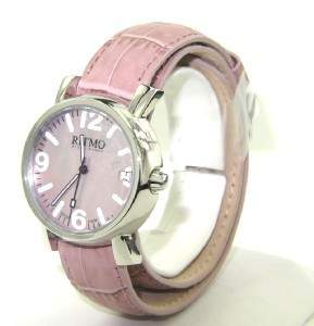 Ritmo Stainless Steel Pink Leather Strap Watch
