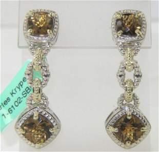 Charles Krypell 14K Yellow Gold/Silver Citrine Earrings