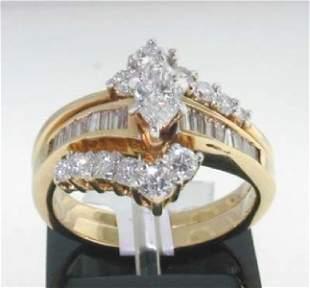 14K Yellow Gold Diamond Ring.