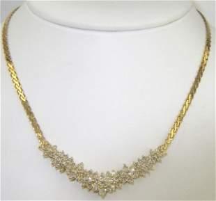 18K Yellow Gold, Diamond Necklace.