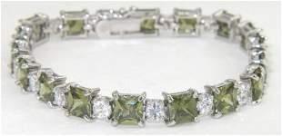 Silver Lemon Color Stone & Diamonique Bracelet
