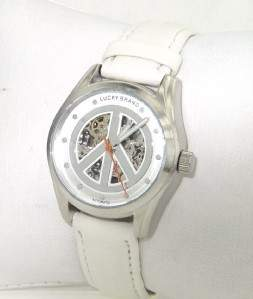 Lucky Brand Stainless Steel Leather Strap Watch