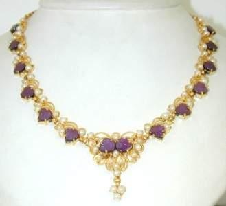 110A: Salavetti 18K Gold, Carved Amethyst & Pearl Neckl