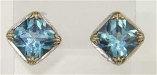 John Hardy 18K Yellow Gold /Silver Blue Topaz Earrin