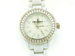 Peugeot White Acrylic Crystal Watch