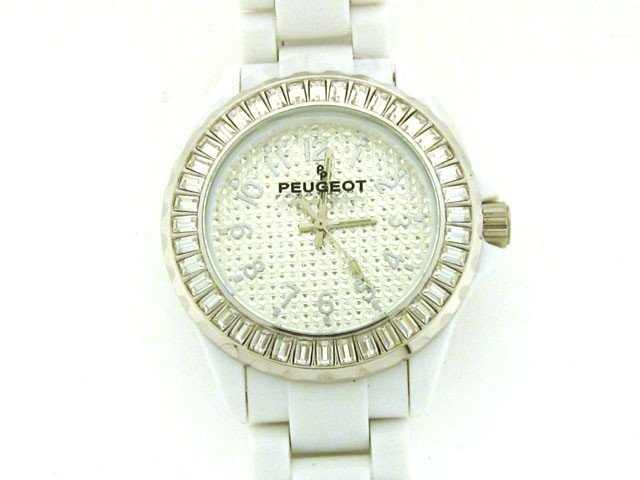 4: Peugeot White Acrylic Crystal Watch