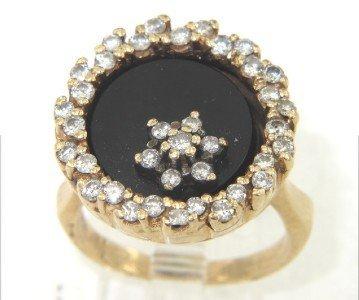 14K Yellow Gold Diamond & Onyx Ring