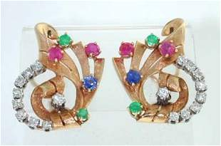14K Yellow Gold Multi-color Earrings With Diamond