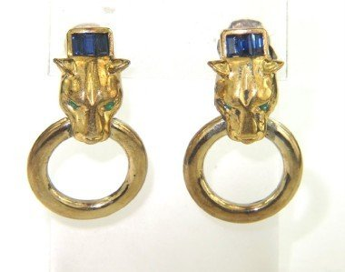 14K Yellow Gold Sapphire & Emerald Earrings