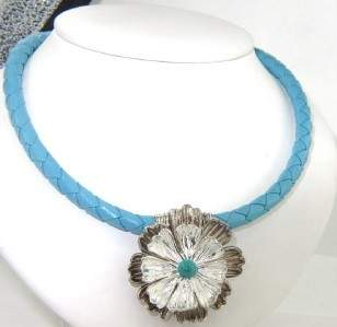 Silver Turquoise Leather Strap Necklace