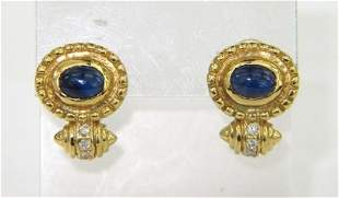 18K Yellow Gold Sapphire & Diamond Earrings