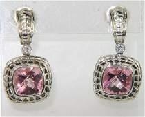 129A: Charles Krypell Gold/Silver Topaz & Diamond Earri