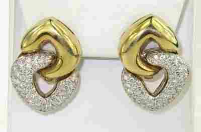 239: Bvcciari 18K Yellow/White Gold Diamond Earrings