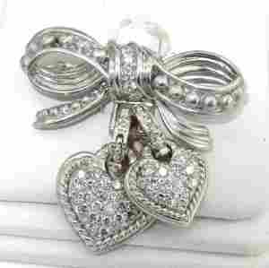 242: Judith Ripka 18K White Gold Diamond Pin