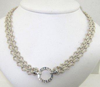 8: Charles Krypell 14K White Gold/Silver Diamond Neckla