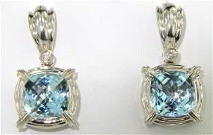 Charles Krypell Silver Blue Topaz Diamond Earrings