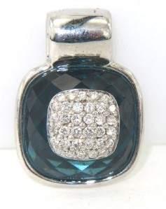 16: Silver Diamond And Blue Topaz Pendant