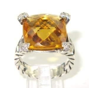 14A: David Yurman Silver Citrine & Diamond Ring