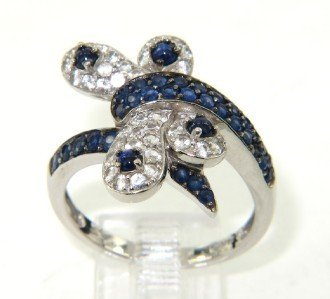 14K White Gold, White Sapphire & Sapphire Ring