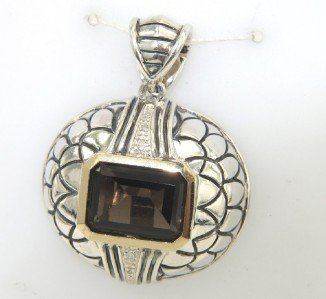 Town and Country Silver/Gold Diamond Topaz Pendant