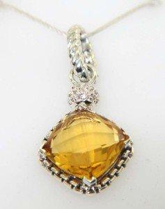 David Yurman Silver Citrine & Diamond Pendant