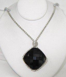 David Yurman Silver Onyx Diamond Necklace