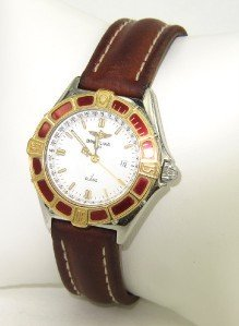 Breitling Stainless Steel Leather Strap Watch