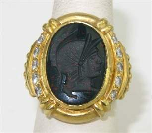 Judith Ripka18K Yellow Gold Colored Stone Intaglio Ring