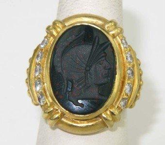 Judith Ripka18K Yellow Gold Colored Stone Intaglio Ring