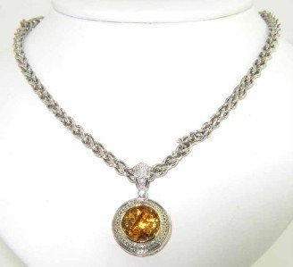 18A: Charles Krypell Silver Citrine Necklace