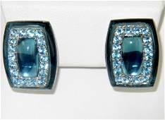 261: Silver Blue Topaz Earrings