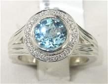 385: Charles Krypell 14K Gold/Silver Blue topaz Diamond