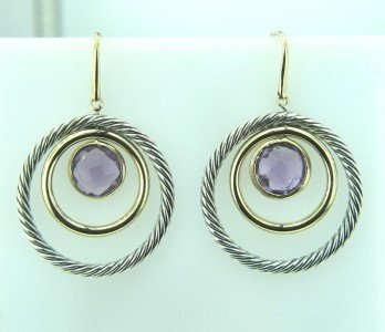 5A: David Yurman 18K Gold /Silver Amethyst Earrings
