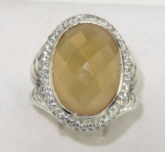 9: David Yurman Silver Citrine & Diamond Ring