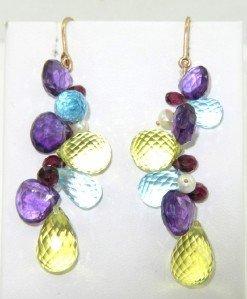 14K Yellow Gold Multi-Colored Stone & Pearl Earrings