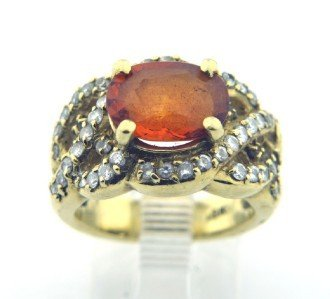 13: 18K Yellow Gold, Citrine & Diamond Ring