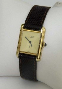 17: Cartier Silver Leather Strap Watch