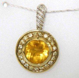 18: David Yurman Silver /18K Gold Citrine,Sapphire Pend