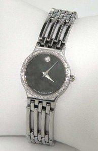 23: Movado Stainless Steel Diamond Watch