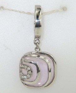 24: Silver Diamond And Quartz Pendant