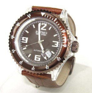 29: Ritmo Stainless Steel Brown Leather Strap Watch