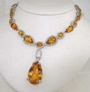 200: Salavetti 18K White Gold Diamond Citrine Necklace