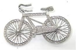 259: 18K White Gold Diamond Moving Bicycle Pin