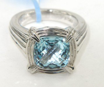 9A: Charles Krypell Silver Blue Topaz Ring