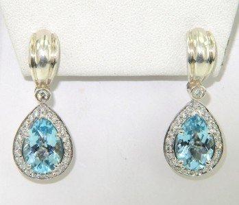 17A: Charles Krypell Gold/Silver Blue Topaz Diamond Ear