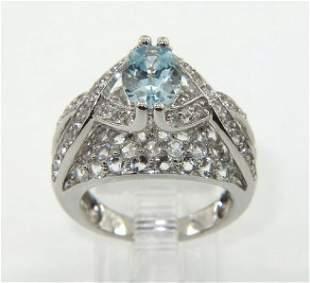 14K White Gold Aquamarine,Diamond & Sapphire Ring.