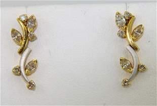 14K Two - Toned Gold Diamond Earrings