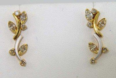 4: 14K Two - Toned Gold Diamond Earrings