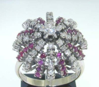 8: 18k White Gold Diamond & Ruby Ring